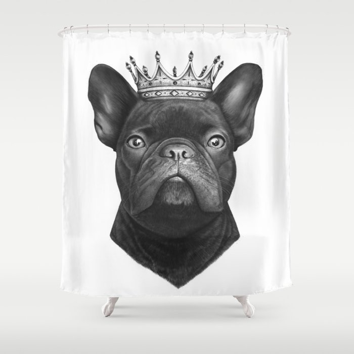 King French Bulldog Shower Curtain By Zhivechkova Art
