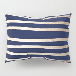 Drawn Stripes White Gold Sands on Nautical Navy Blue Pillow Sham