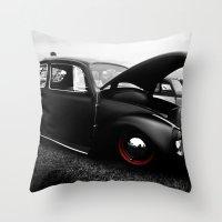 vw Throw Pillows featuring VW Bug by Gene  Edgar