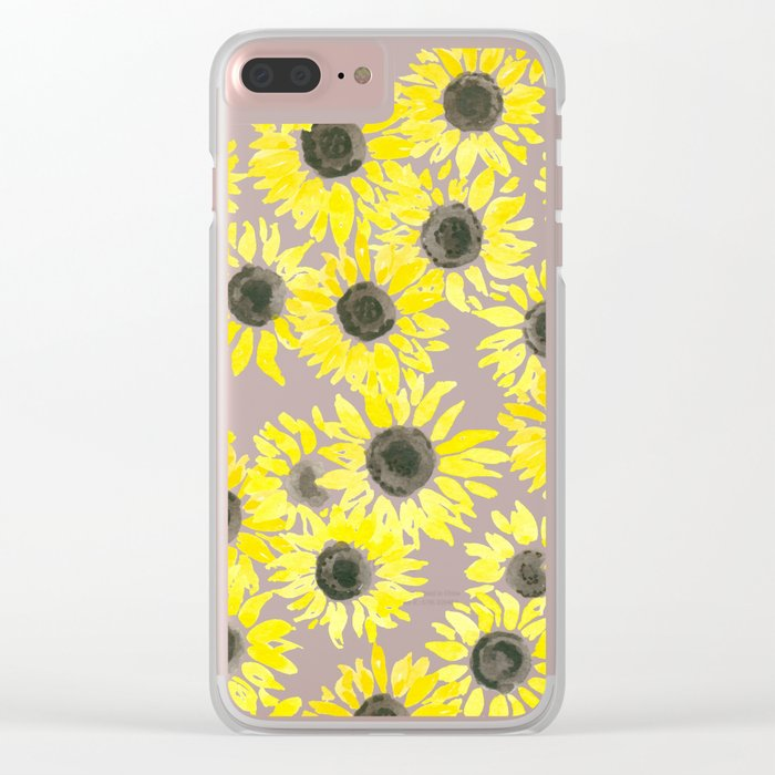 Sunflowers watercolor pattern Clear iPhone Case