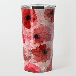 Pressed Poppy Blossom Pattern Travel Mug