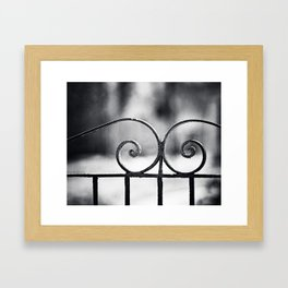Black and White Wrought Iron Gate Photography, Dark Grey Old Vintage Fence Gray Architecture Minimal Framed Art Print