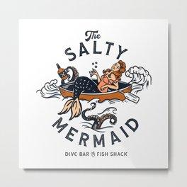 The Salty Mermaid Dive Bar & Fish Shack - Retro Pinup Mermaid Travel Art Metal Print