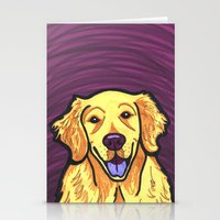 golden retriever Stationery Cards featuring Golden Retriever by Gianna Brucato