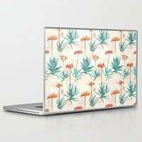 50s Laptop & iPad Skins featuring Flowering Succulent Pattern in Cream, Coral and Green by micklyn