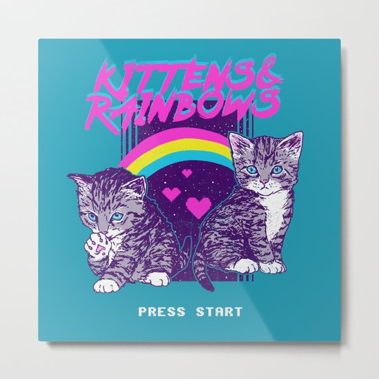 Kittens & Rainbows Metal Print