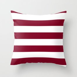 Horizontal Stripes - White and Burgundy Red Throw Pillow