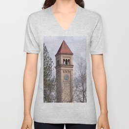 Beautiful Old Clock Tower In Spokane, Washington, Vintage Train Station Clock Tower Unisex V-Neck