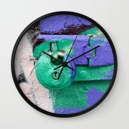 Purple and green lock Wall Clock