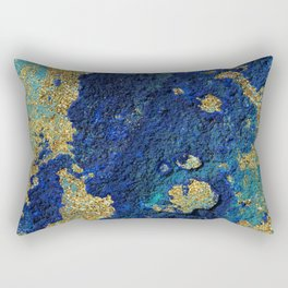 Indigo Teal and Gold Ocean Rectangular Pillow