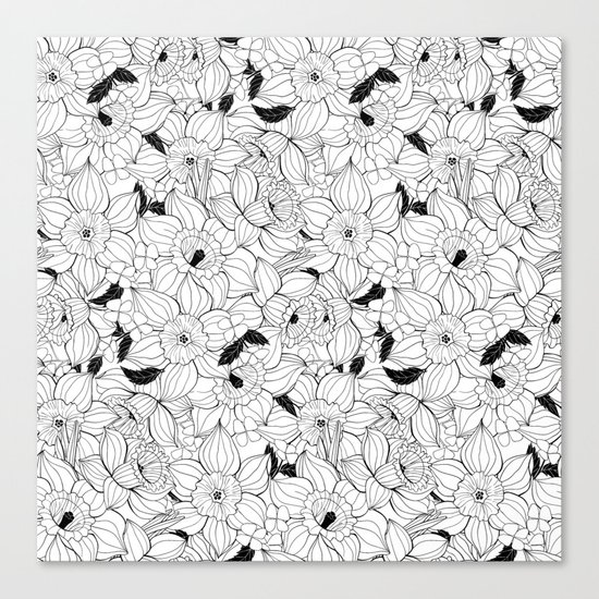 Daffodils spring floral pattern Canvas Print