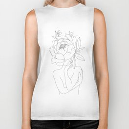 Minimal Line Art Woman Flower Head Biker Tank