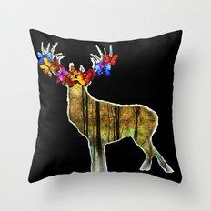 Flower deer Throw Pillow