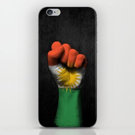 Kurdish Flag on a Raised Clenched Fist iPhone Skin