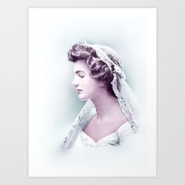 Wedding Portrait of Jacqueline Bouvier Kennedy 1953 Infrared art by Ahmet Asar Art Print