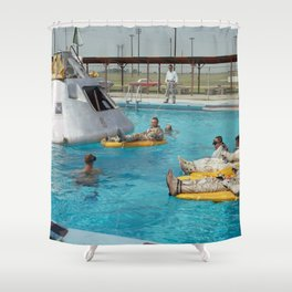 Apollo 1 - Relaxing by the Swimming Pool Shower Curtain