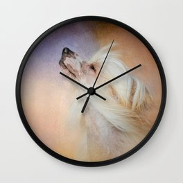 Wind In Her Hair - Chinese Crested Hairless Dog Wall Clock