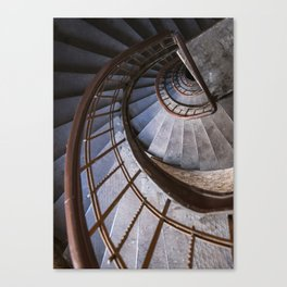 Old steel spiral staircase Canvas Print
