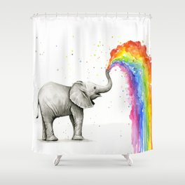 Rainbow Baby Elephant Shower Curtain