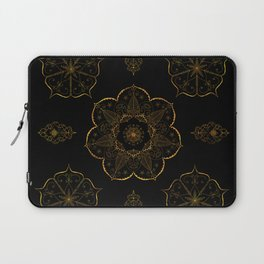 Neutral old gold mandala art floral pattern design Laptop Sleeve