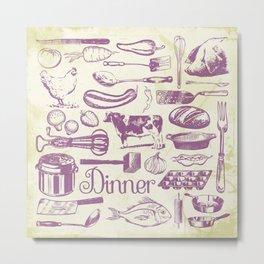 Retro Dinner - Aged Metal Print