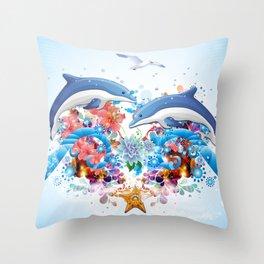 Marine Collage Throw Pillow