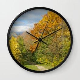 Walking Through Autumn Wall Clock