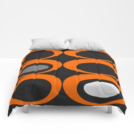 Retro Ovals Print - Orange, Black, Gray and White Comforters