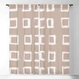 Square Stroke Dots White on Nude Blackout Curtain