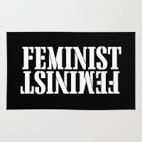 feminist Area & Throw Rugs featuring Feminist by Retro Designs