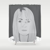 kim sy ok Shower Curtains featuring kim by Britt Whitaker Design