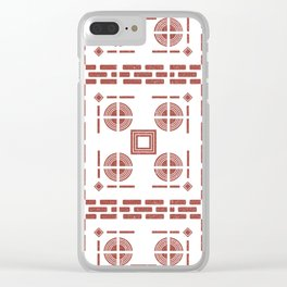 Mediterranean Pattern 7 - Tile Pattern Designs - Geometric - Maroon - Ceramic Tile - Surface Pattern Clear iPhone Case