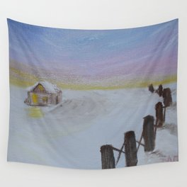 Snowy Cabin Wall Tapestry