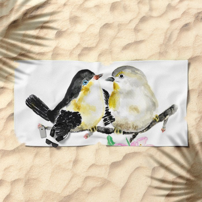 birds and apple flower blossom Beach Towel