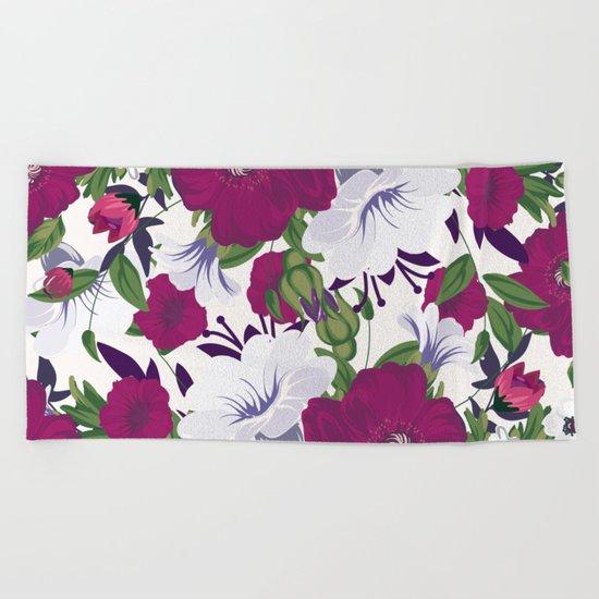 Purple Spring Flowers Beach Towel