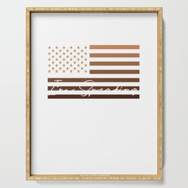 Excuse Me I'm Speaking Funny Kamala Harris Melanin USA Flag Serving Tray