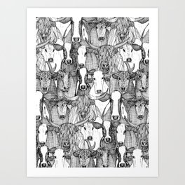 just cattle black white Art Print
