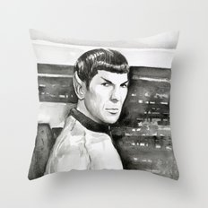 Spock Leonard Nimoy Portrait Sci-fi Geek Painting Throw Pillow