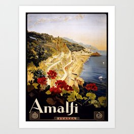 Vintage poster - Amalfi Art Print
