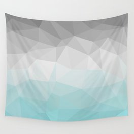 light blue and grey polygon Wall Tapestry