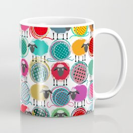 Bright Sheep and Yarn Pattern Coffee Mug