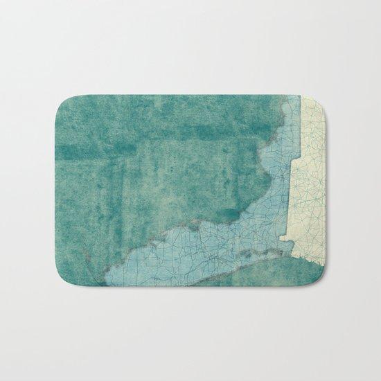 Florida State Map Blue Vintage Bath Mat