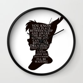 Peter Pan Quote - That Place Wall Clock