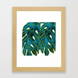Blue & Green Mix Lau Ulu Leaf Framed Art Print