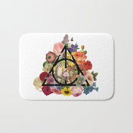 Floral Deathly Hallows Owl and Stag - Black Bath Mat