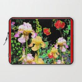 BRILLIANT  RED-BLACK YELLOW IRIS FLOWERS GARDEN Laptop Sleeve