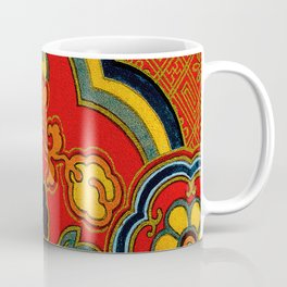 Vintage Japanese Kimono Fabric Pattern Coffee Mug