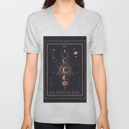 La Maison Dieu or The Tower Tarot Unisex V-Neck