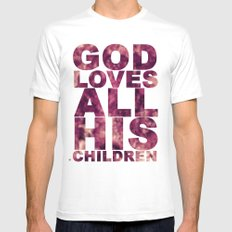 GOD LOVES ALL HIS CHILDREN (Acts 10:34-35) MEDIUM White Mens Fitted Tee