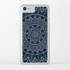 Blue Textured Lace Mandala Clear iPhone Case
